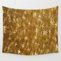 gold glitter Wall Tapestries featuring Gold Glitter 1323 by Cecilie Karoline