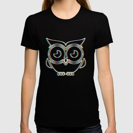 Psychedelic Owl Gift   Psy Trance Music Trippy Retro 3D Effect Design for Animal Lovers T-shirt