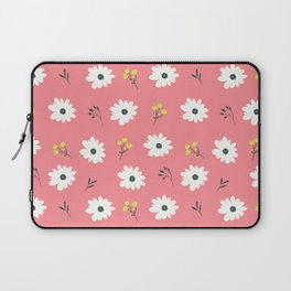 Modern hand painted pink white yellow floral illustration Laptop Sleeve