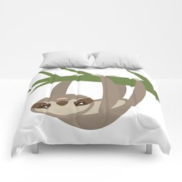 Three-toed sloth on green branch on white background Comforters