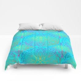 Vibrant, colourful mandala Comforters