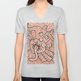 """The Face"" - inspired by Keith Haring v. orange Unisex V-Neck"