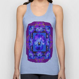 Purple Pansy & Butterflies Melody Abstract Unisex Tank Top