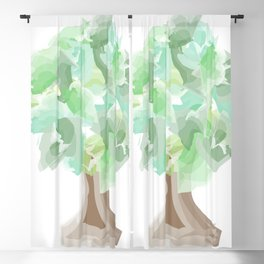 Watercolor tree with a wide trunk Blackout Curtain