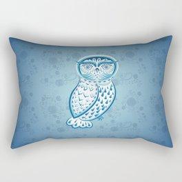Blue ornamental owl Rectangular Pillow