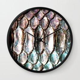 Glowing Iridescent Metallic Snake Skin Wall Clock