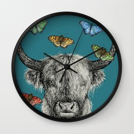 Heather the Highland Cow, Butterflies, pen and ink illustrations, blue Wall Clock