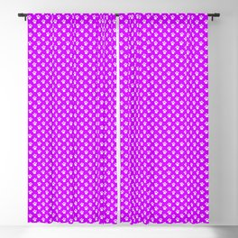 Tiny Paw Prints Pattern - Bright Magenta and White Blackout Curtain