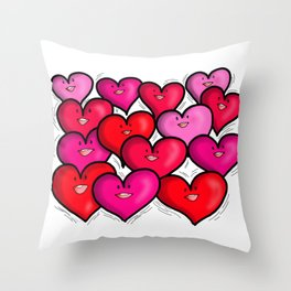 Cheerful Happy Smiling Hearts Throw Pillow