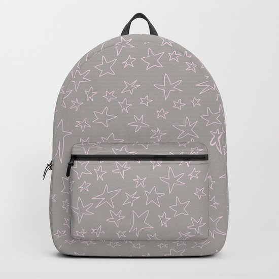Pink handpainted little stars on grey background Backpack