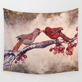 Kissing Cardinals Wall Tapestry
