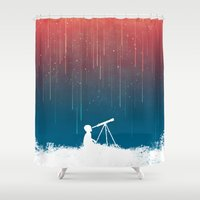 outdoor Shower Curtains featuring Meteor Rain (light version) by Picomodi