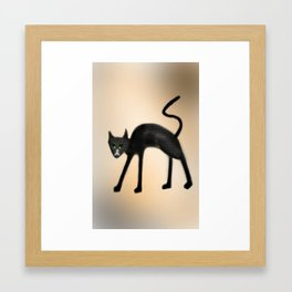 Black Angry Cat Framed Art Print