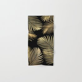 Gold Palm Leaves on Black Hand & Bath Towel