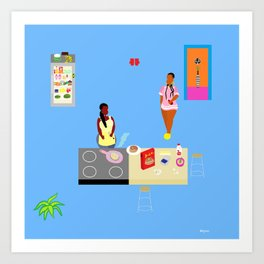 Home cooking to start the day right Art Print