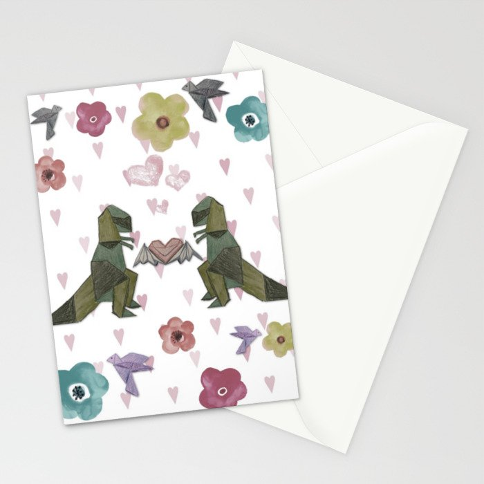 T-Rex Luv Takes Flight Pastel Stationery Cards