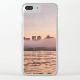 Boston covered in fog Clear iPhone Case