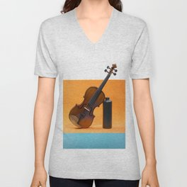 Still-life with a violin and a dark bottle Unisex V-Neck