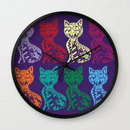 Folk Cats on paper film Wall Clock