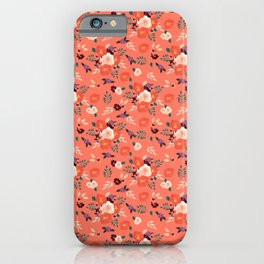 Peach | Coral Watercolor Floral Bouquet on Coral iPhone Case