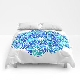Mandala Iridescent Blue Green Comforters