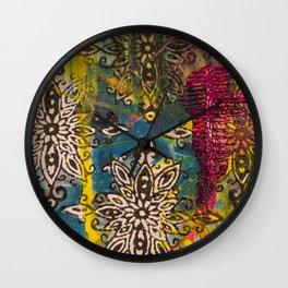 Scrambled Design in Teal, Yellow and Magenta Wall Clock