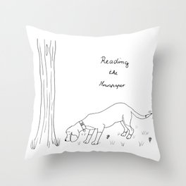 Reading the newspaper beagle illustration Throw Pillow