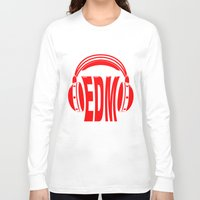 edm Long Sleeve T-shirts featuring EDM Style Headphones by Mark