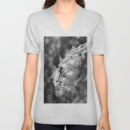 Bee2 and Blood Currant Ribes Sanguineum bw Unisex V-Neck
