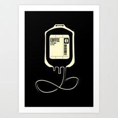 Coffee Transfusion - Black Art Print