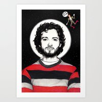 flight of the conchords Art Prints featuring Flight of the Conchords: BRET McKENZIE IN SPACE! by Dianah B