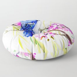 Blue Jay and Cherry Blossom, Blue Pink Birds and Flowers Floor Pillow