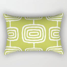Mid Century Modern Atomic Rings Pattern 771 Green Rectangular Pillow