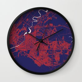 Torreón, Coahuila, Mexico, Blue, White, City, Map Wall Clock