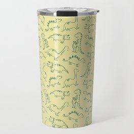 Tiny dinosaur pattern on beige Travel Mug