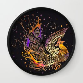 Colorful Glow Phoenix Bird Wall Clock