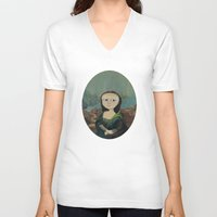 mona lisa V-neck T-shirts featuring Mona Lisa by Chris Talbot-Heindl