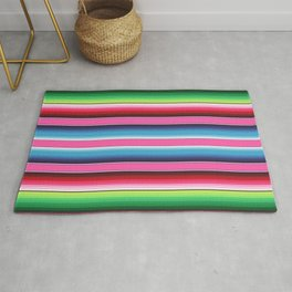 Pink Mexican Serape Blanket Stripes Rug