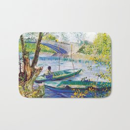 Vincent van Gogh Fisherman and Boats from the Pont de Clichy Bath Mat