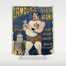 Funny vintage meat extract advertising Shower Curtain