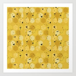 Cute Honeycomb Bee Pattern Art Print