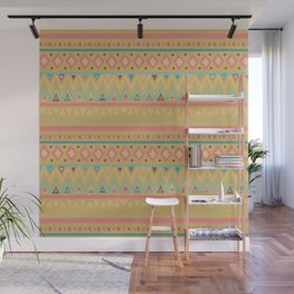 Hand painted geometrical pink teal yellow tribal aztec Wall Mural