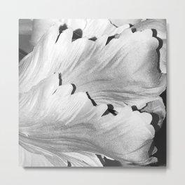 Fine Art Avant-Garde Alabaster White Leaves In Noir Metal Print