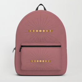 Moon Phases in gold with a starburst and dusty rose background Backpack