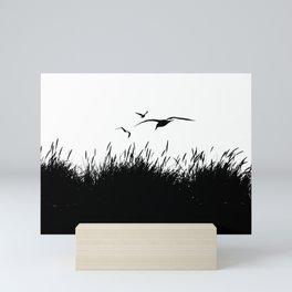 Seagulls Flying over Sand Dunes Mini Art Print
