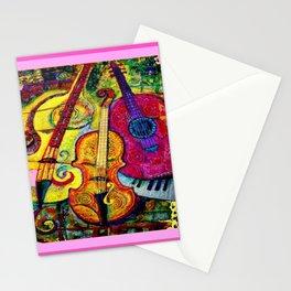 Rose Color Guitar String Instruments Stationery Cards