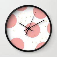 gold dots Wall Clocks featuring Coral & Gold Dots by Allyson Johnson