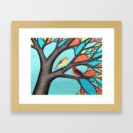 scarlet tanagers in the stained glass tree Framed Art Print