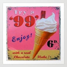 Vintage Style Ice Cream Sign Art Print