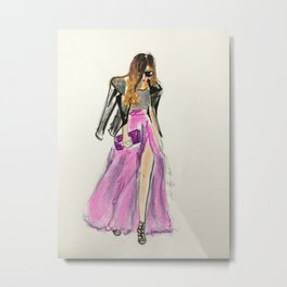girl with Biker Jacket Fashion Illustration Metal Print